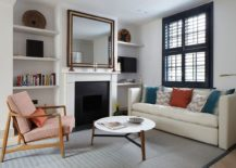 Decorating around the fireplace in a modern-classic fashion