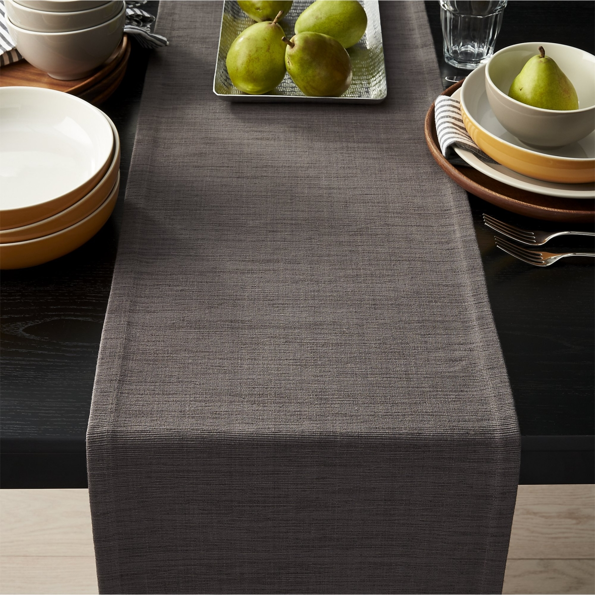 Deep grey table runner