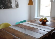 Dining table made from reclaimed wood for the modern coastal dining room