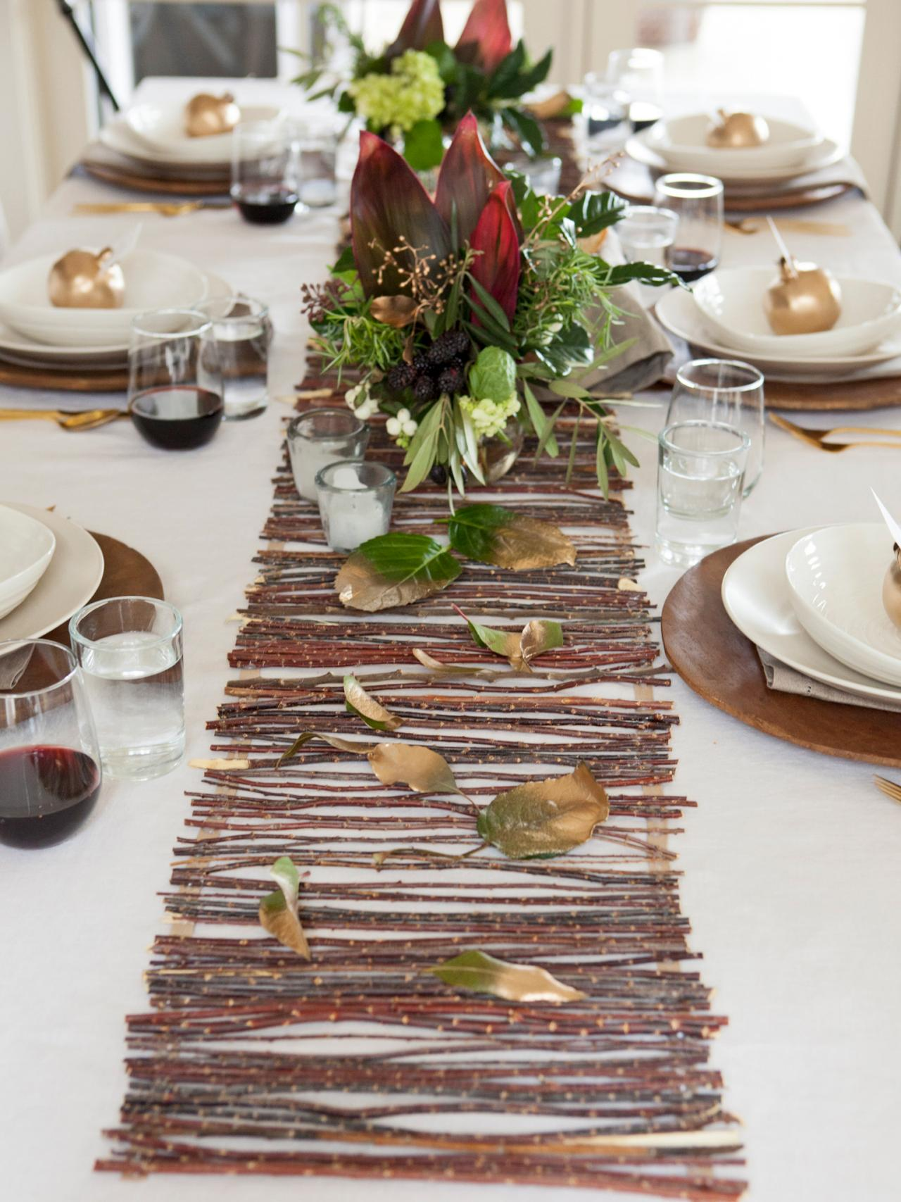 Earthy twig table runner