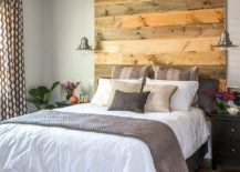 Charming Vivacious Reclaimed Wood Accent Wall For The Industrial Bedroom [Design:  Jen Chu Design]