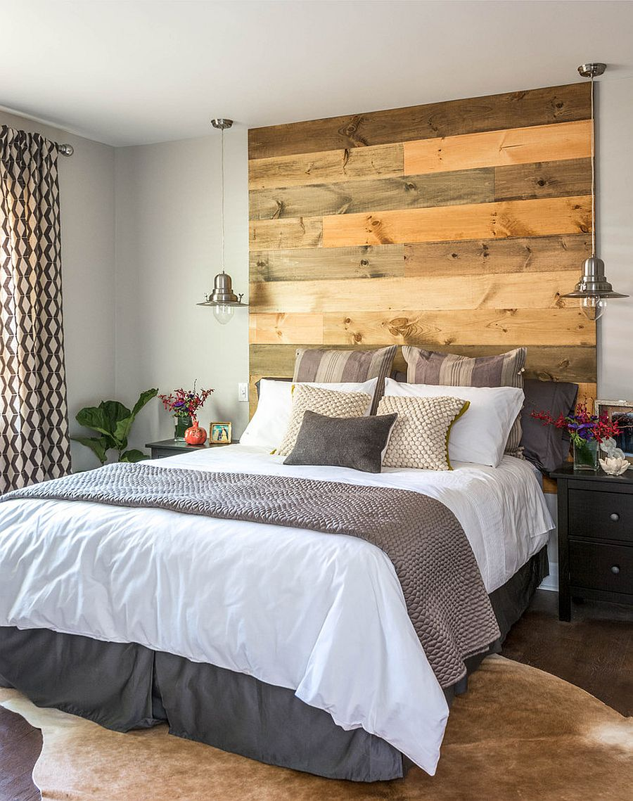 Elegant reclaimed wood headboard in the contemporary bedroom [Design: Carriage Lane Design-Build / Photography: Stephani Buchman]