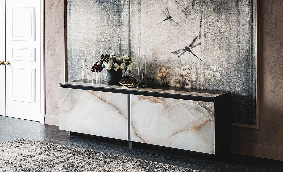 Elegant sideboard with sliding doors and insert and marble finish Cool Contemporary Sideboards Usher in Geo Style and Textural Charm