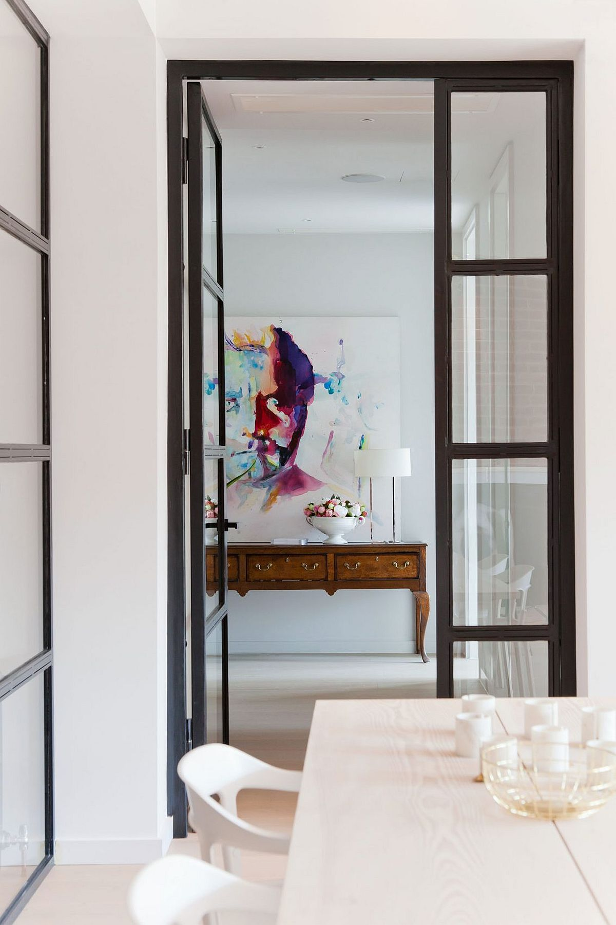 Entry of the renovated penthouse apartment in Shoreditch, London