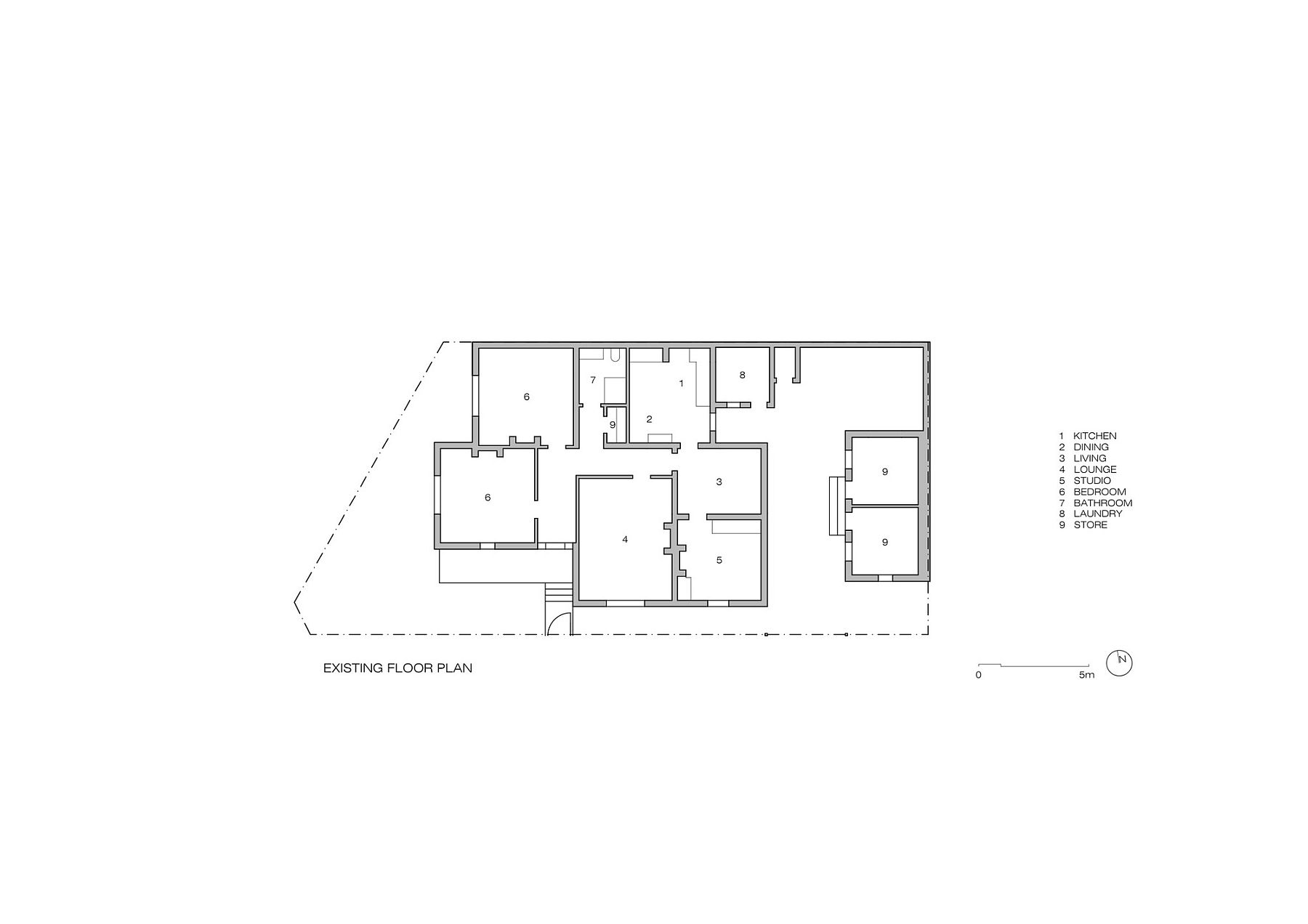 Existing floor plan of the classic Melbourne home with brick facade before extension