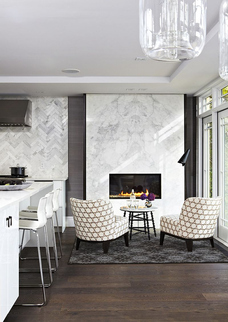 ... Exquisite Contemporary Kitchen Fetaures A Sconversation Zone Next To  The Fireplace With Calacatta Marble Surround [