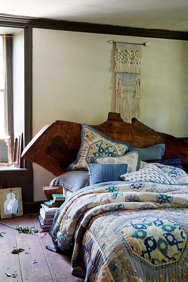Exquisite modern bed with live-edge headboard from Anthropologie