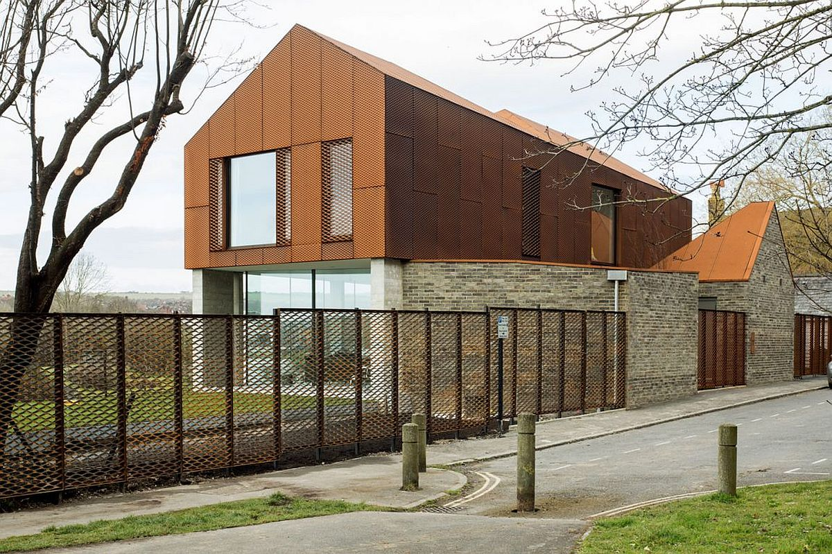 Exterior of the East Sussex home combines industrial past with modern aesthetics