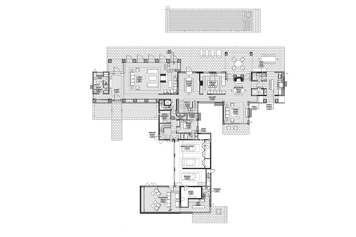 Floor plan of Modern Barn House in LA