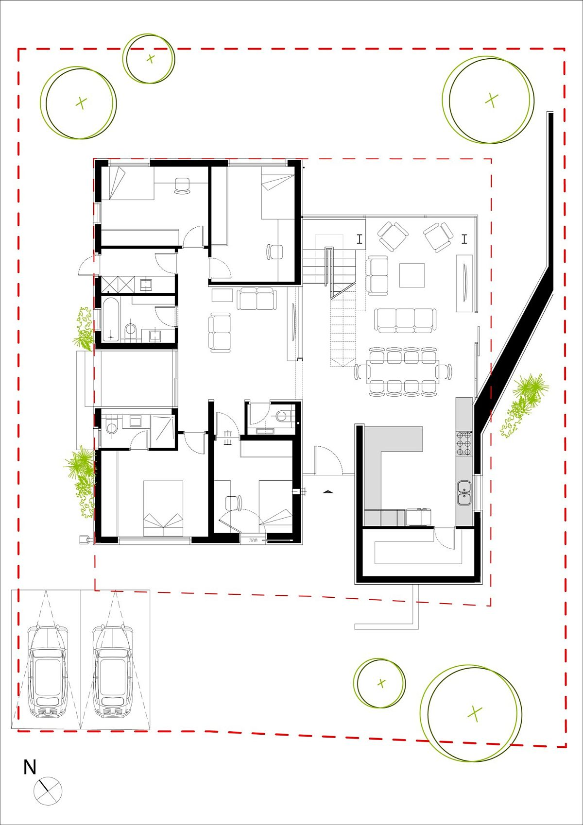 Floor plan of lower level of contemporary home in Israel