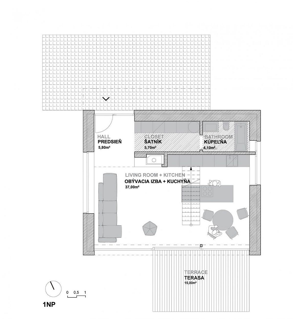 Floor plan of lower level of the ingenious home in Slovakia