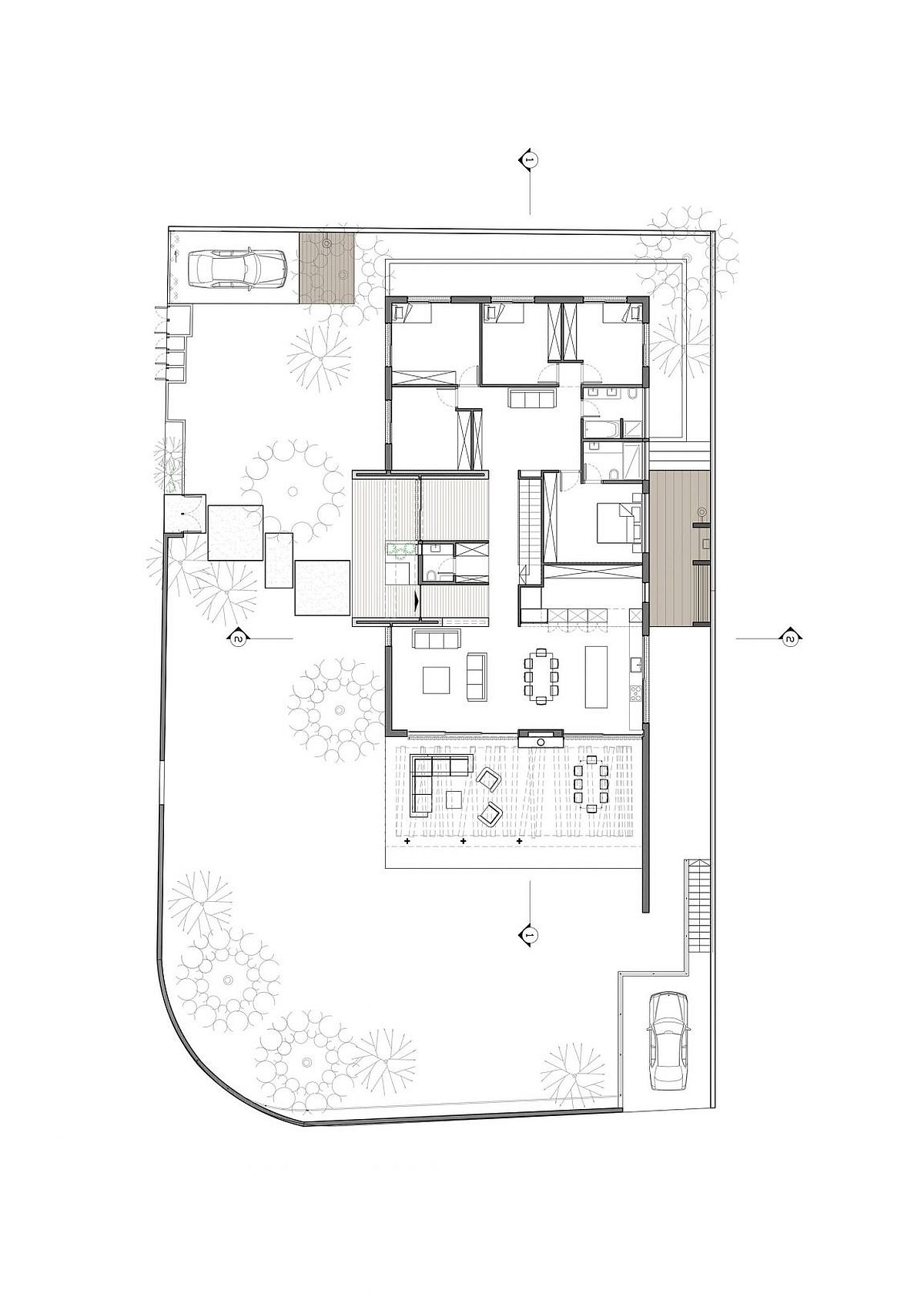 Floor plan of relaxing modern home in Israel