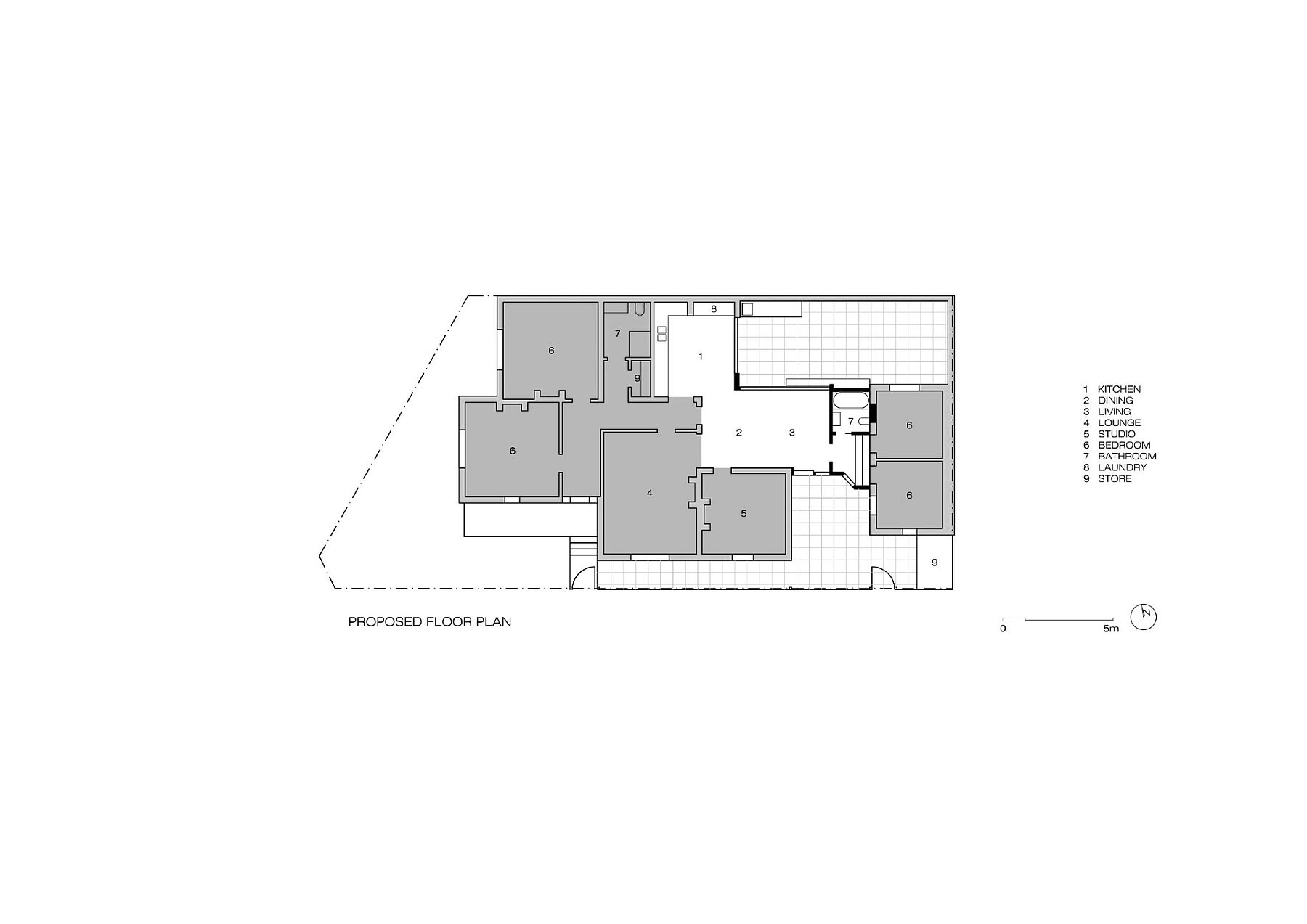 Floor plan of the Melbourne home after the new addition