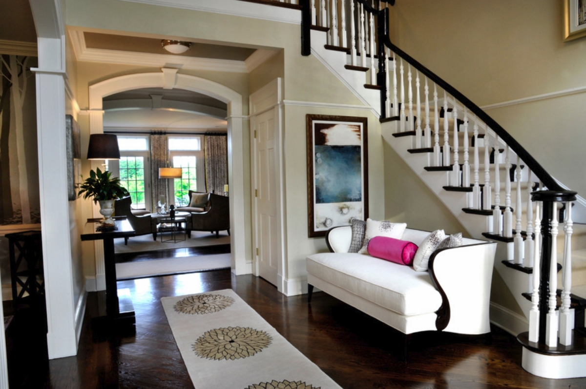 Foyer sofa entry settee transitional entrance foyer sarah for Foyer seating area ideas