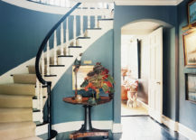 Foyer with a staircase via Lonny