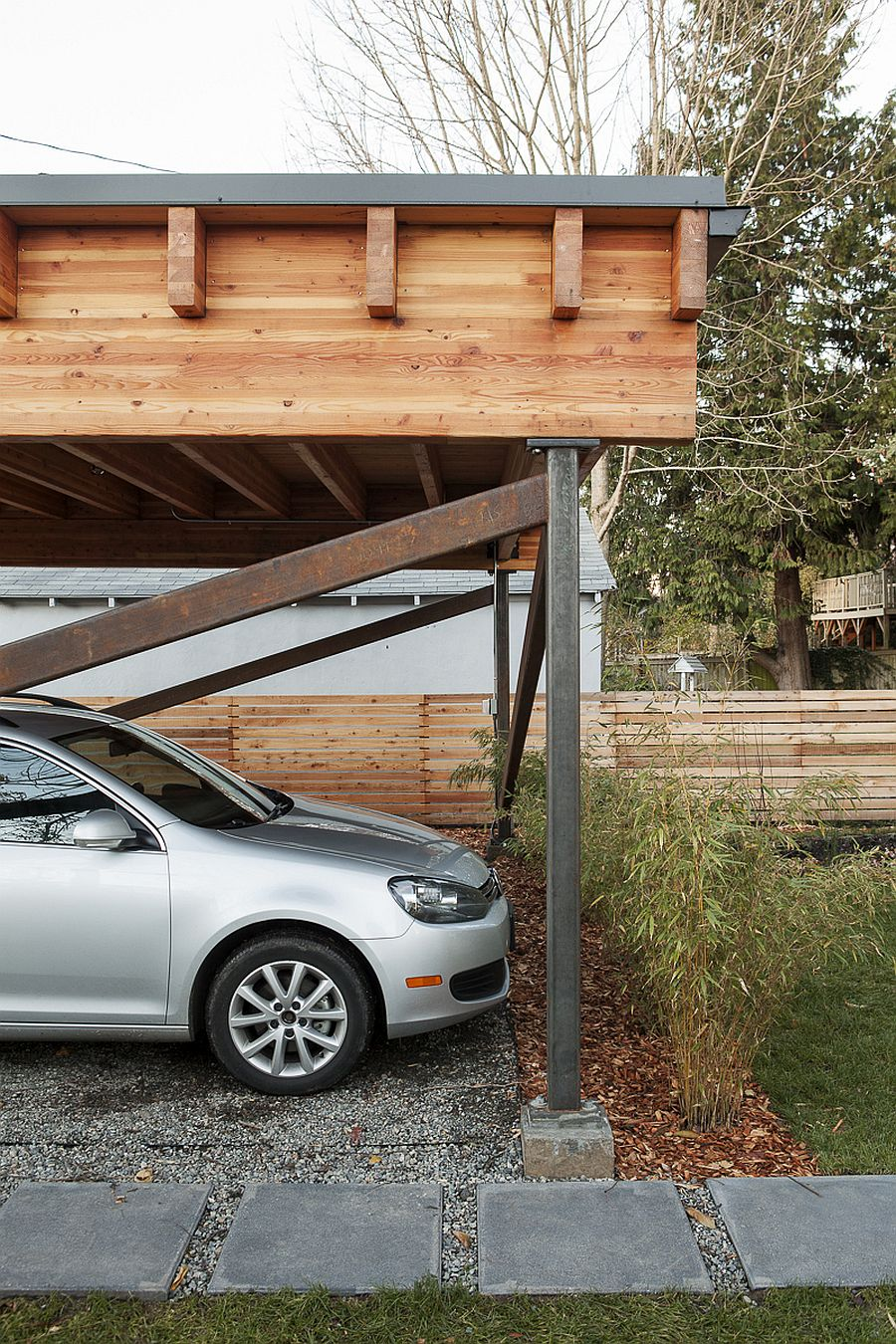 Garage of the passive home in Seattle with eco-conscious design