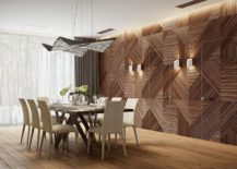 Geometric style and a unique backdrop for the classy modern dining room