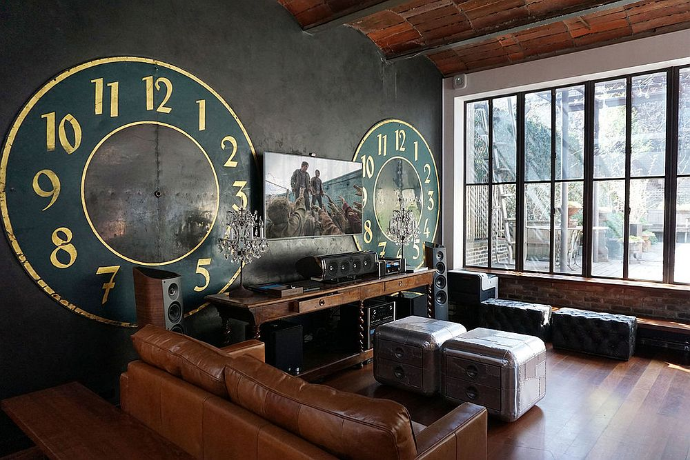 Giant clock faces and an entertainment unit create a unique and striking sunroom in SoHo townhouse [Design: Cloud9 Smarthome]