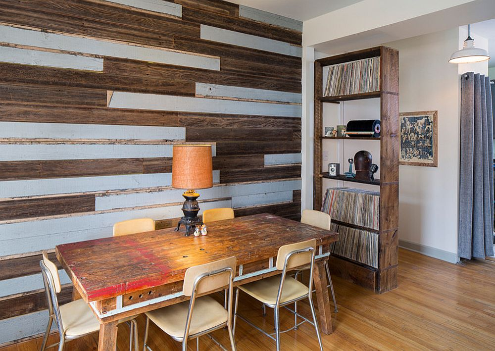 Give old wooden planks a new lease of life in the dining room [Design: Foundre Made]