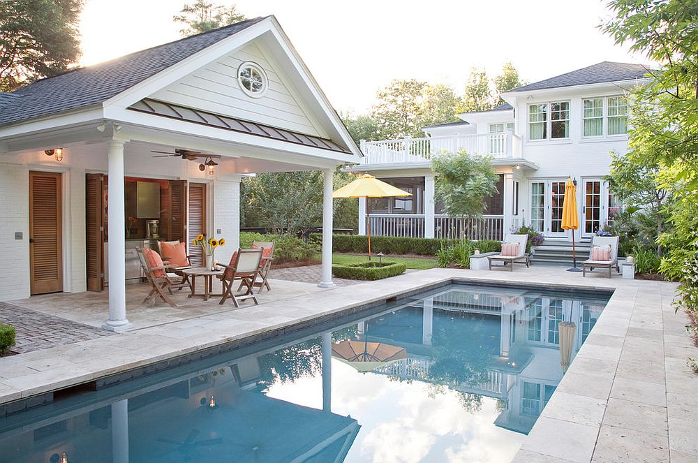 give the pool house a small kitchen and serving station to turn it into a cool - Cool House Pools