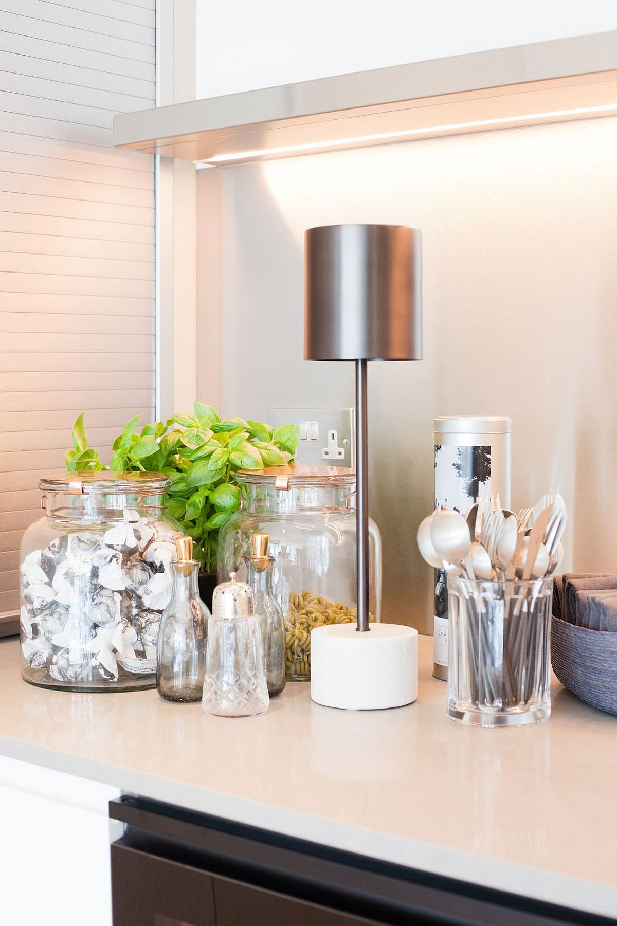 Glass jars and mason jars used as decorative pieces inside the smart London home