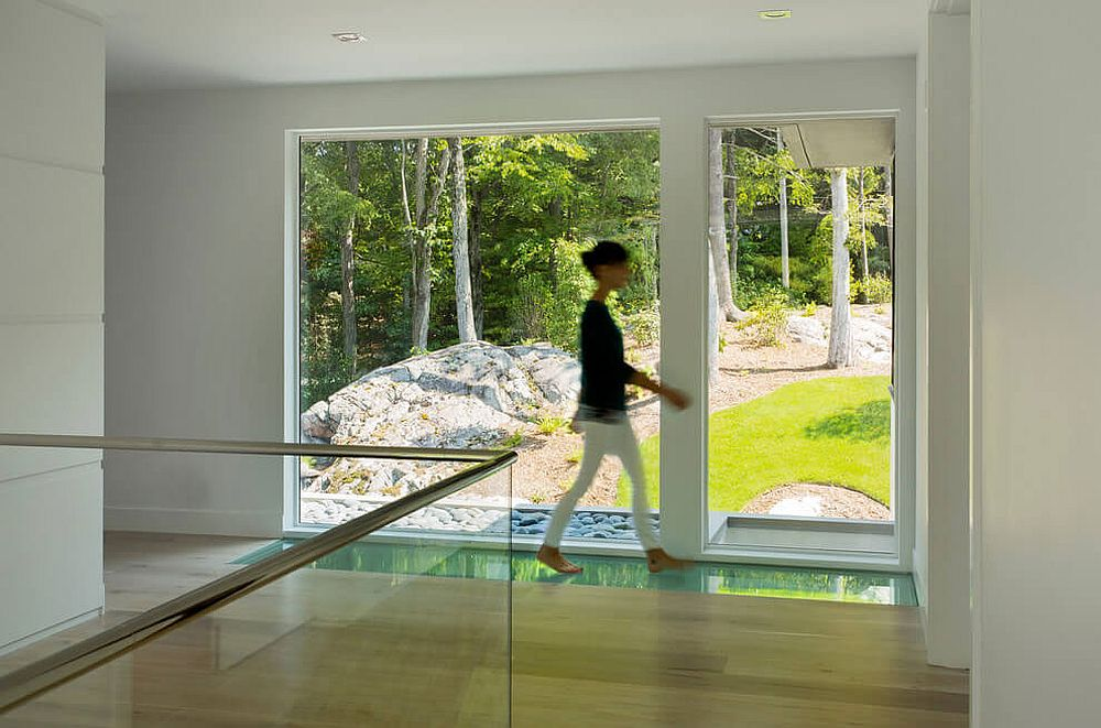 Glass skylight brings ventilation to the lower level