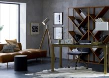 Golden tones in a grey room by CB2