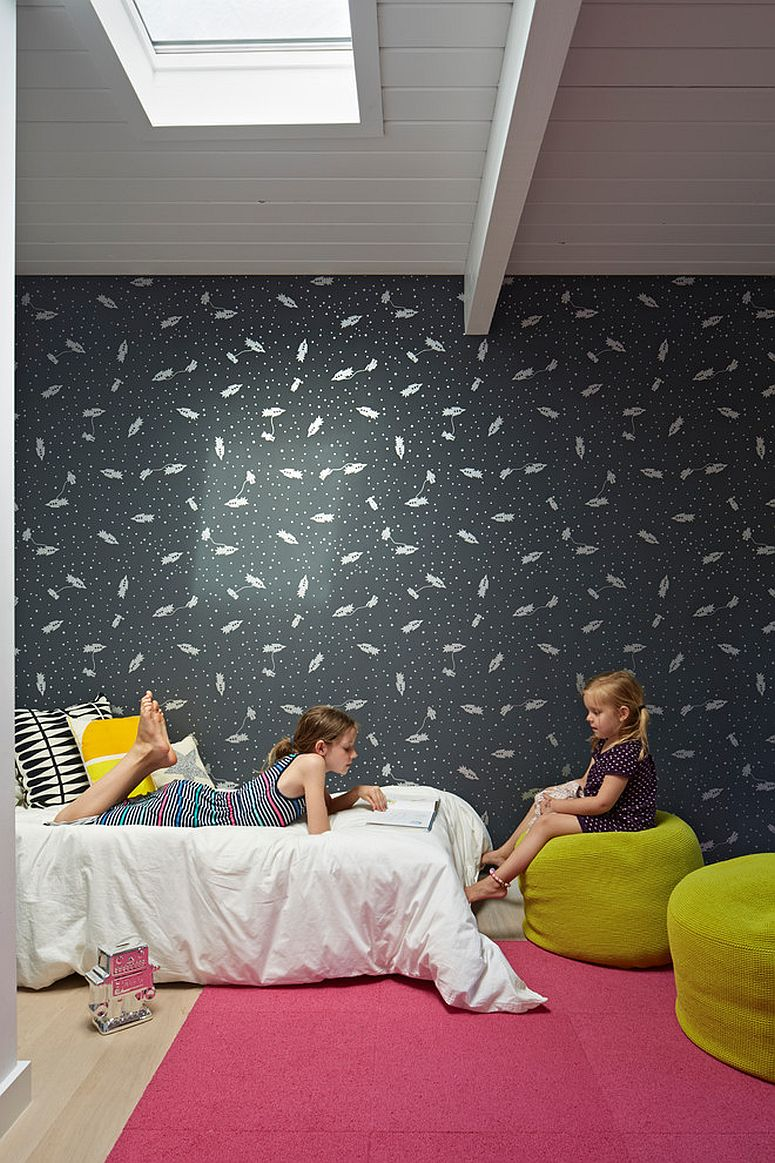 Gorgeous midcentury girls' bedroom with skylight [Design: Flegel's Construction]