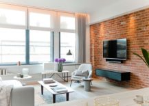 NYC LoftStyle Penthouse With Brick Walls Takes Shape In London - Contemporary soho loft with exposed brick and wood beams