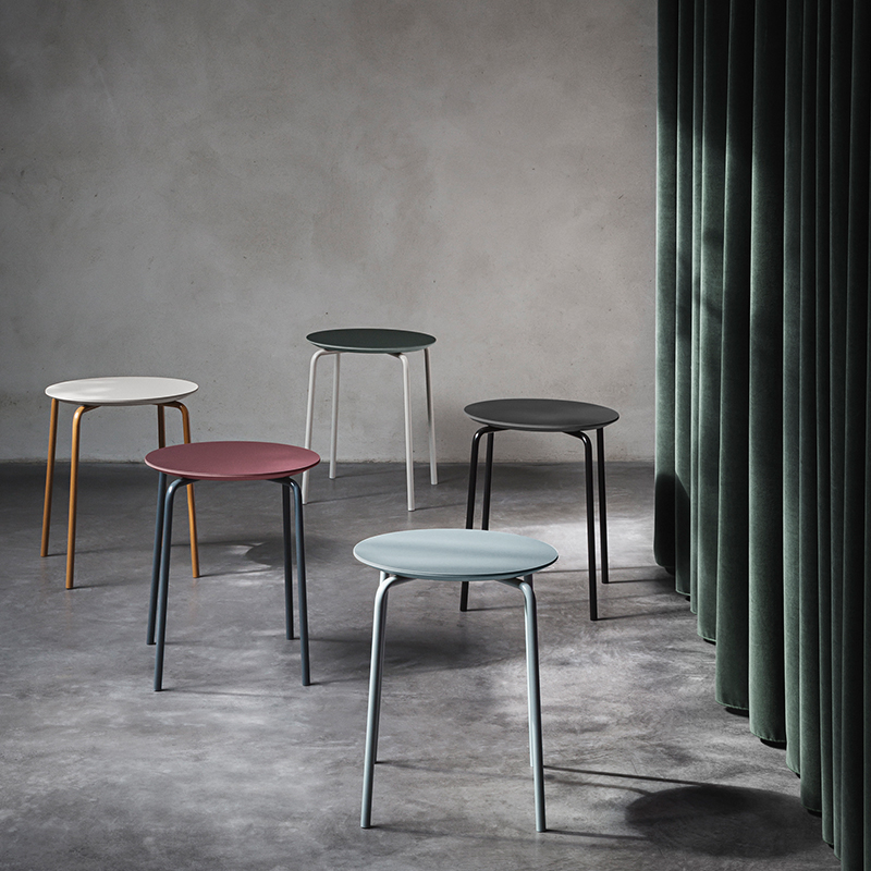 Grey walls offset modern stools from ferm LIVING