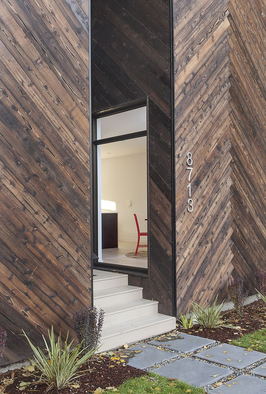 Hand-charred cedar exterior of the modern passive home in Seattle