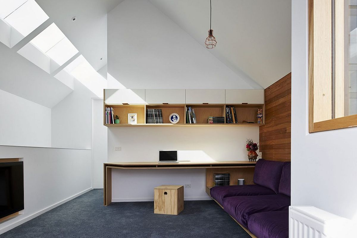 Home office in white with skylights