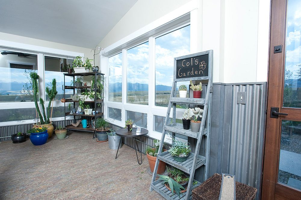 Indoor vertical garden or herb garden brings greenery to the spacious sunroom
