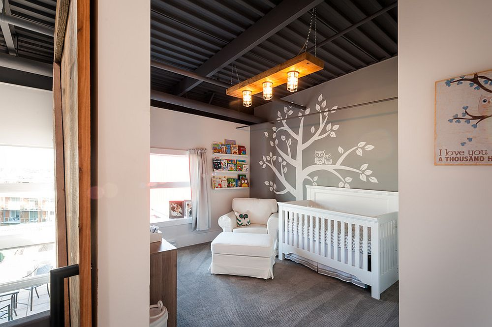 Industrial nursery of vintage loft in Vancouver with dark ceiling [Design: theMACNABs]