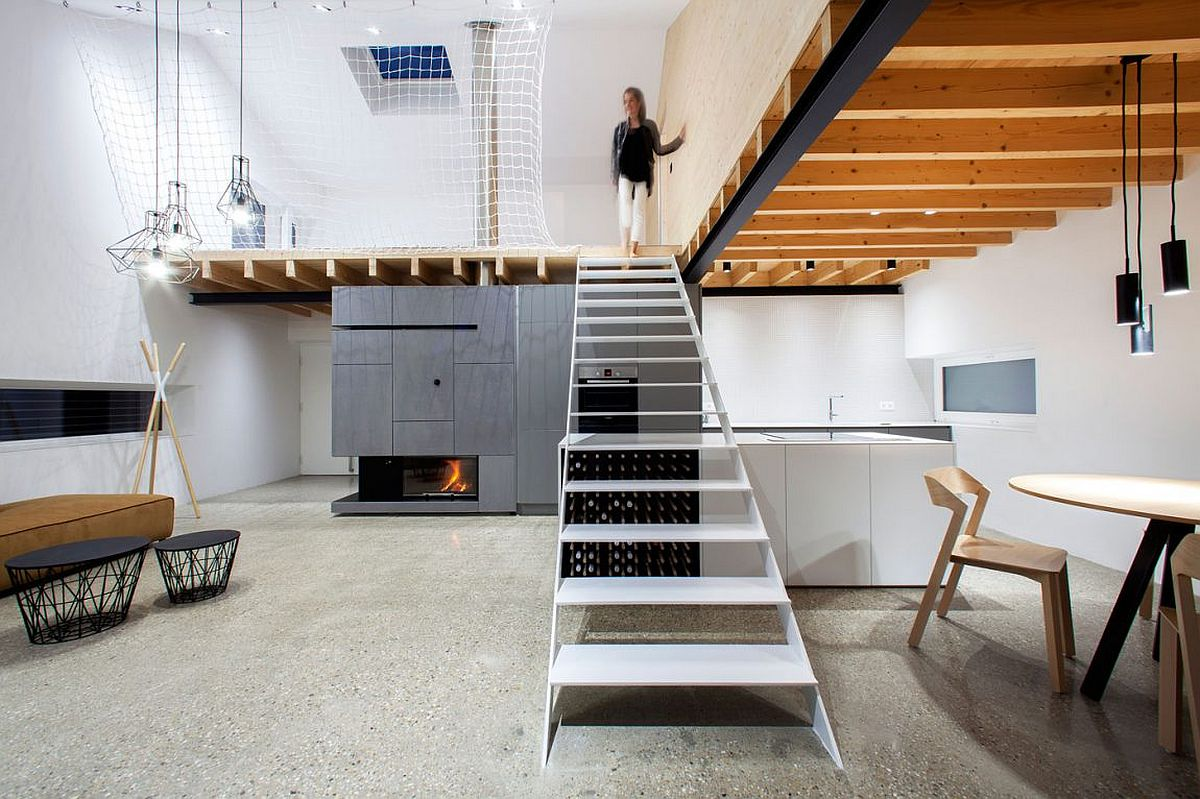Innovative floor plan of the home with a net for the top level