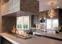 Innovative way to use the fireplace in the kitchen
