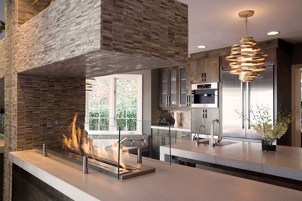 Innovative way to use the fireplace in the kitchen [Design: Natalia Dragunova / Notion LLC / Bradd Celidonia]