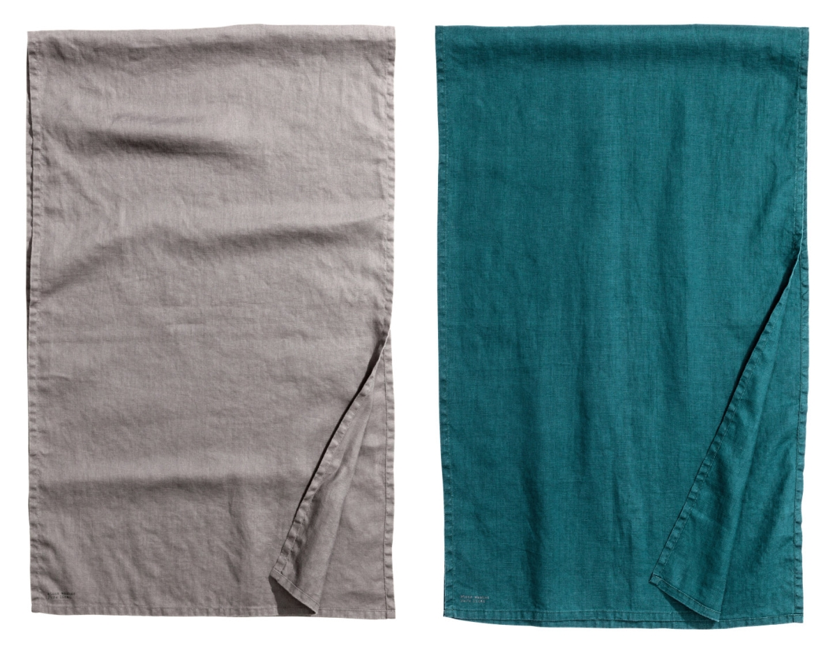 Linen table runners in grey and teal