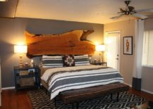 Live-edge headboard and bench transform the rustic bedroom