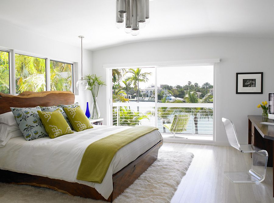 Live wood bed frame becomes the stand out feature of the contemporary bedroom [Design: AJS Designs]