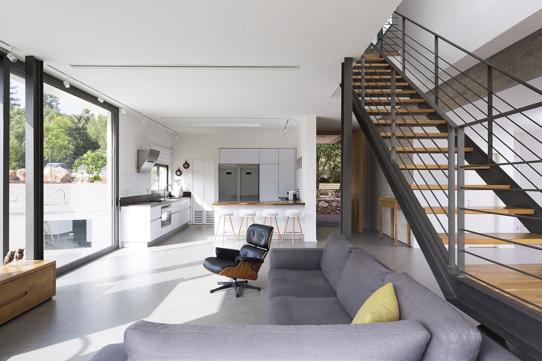 Living area kitchen and dining room of the contemporary Israeli home