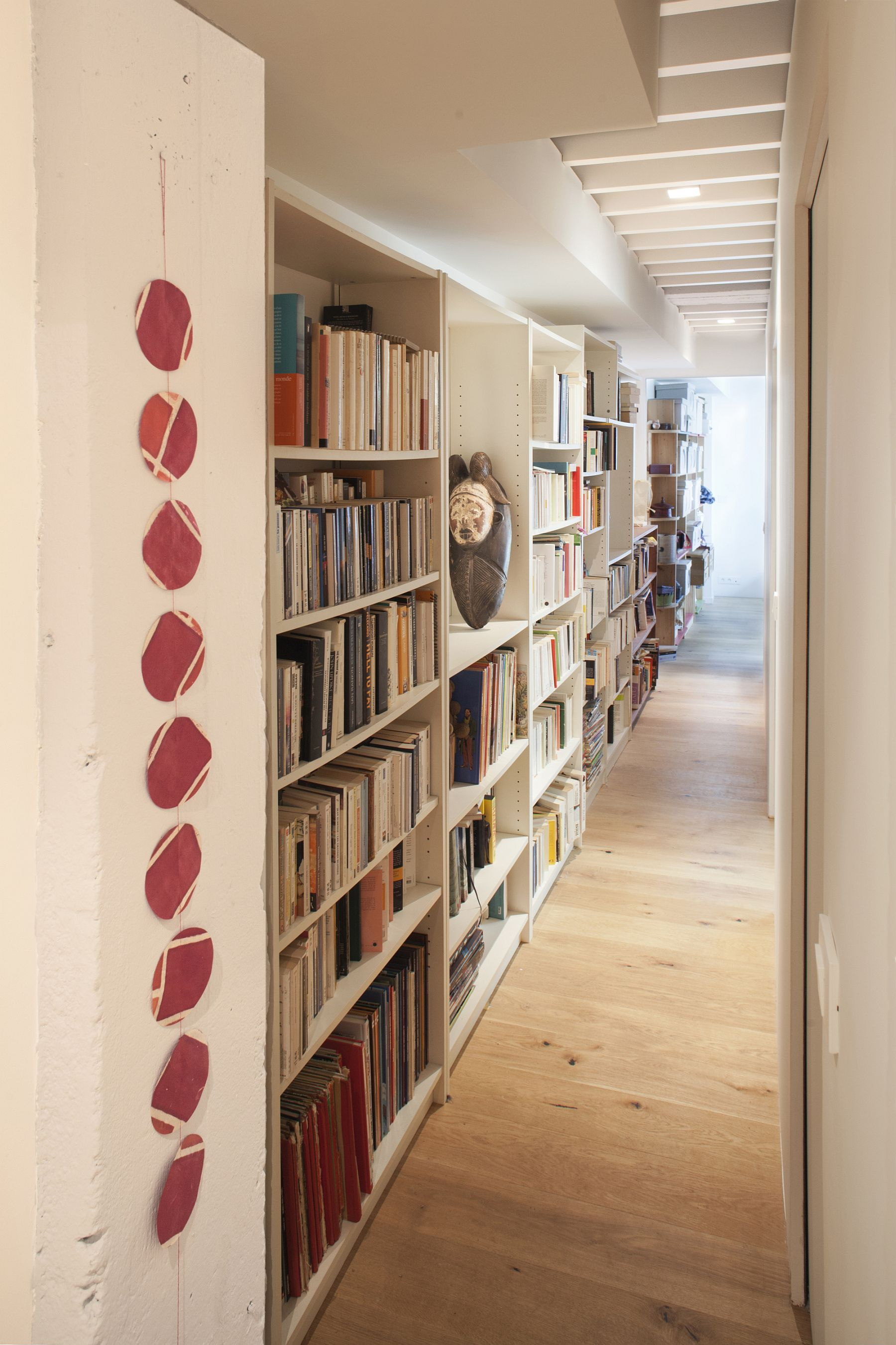 Long corrrridor used to store books in style with a series of wall shelves