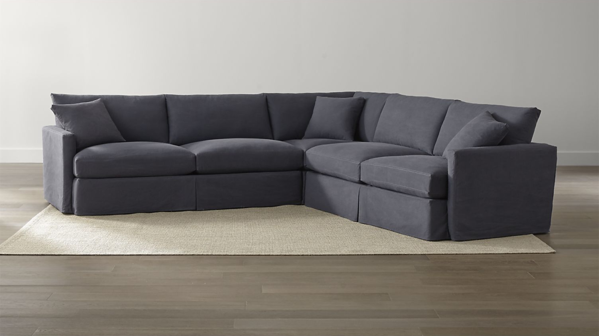 Lounge II Petite Slipcovered 3-Piece Sectional in Twilight