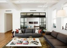 Low-slung sofas and oversized coffee table in the contemporary living room