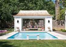 Matching decor and common hues inside and outside the pool house create a curated poolscape