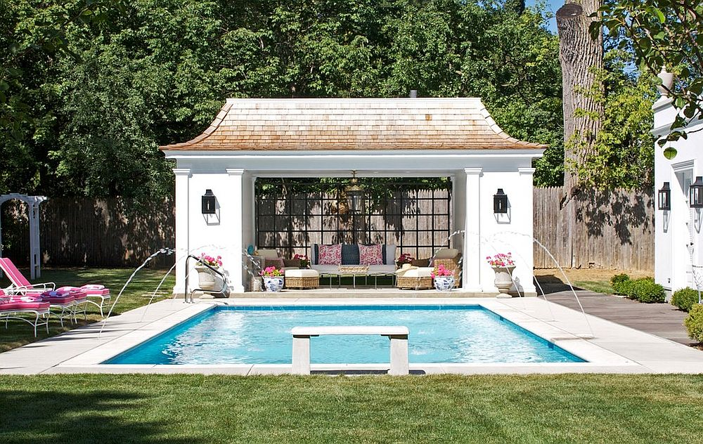 View in gallery Matching decor and common hues inside and outside the pool  house create a curated poolscape [ - 25 Pool Houses To Complete Your Dream Backyard Retreat