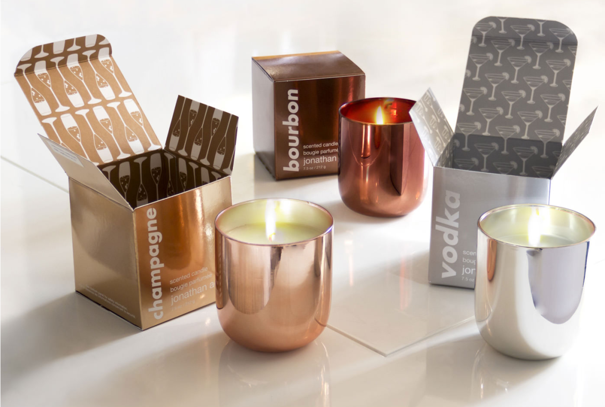 Metallic candles from Jonathan Adler