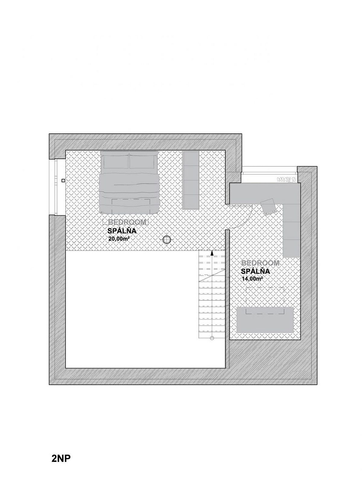 Mezzanine level floor plan with bedrooms