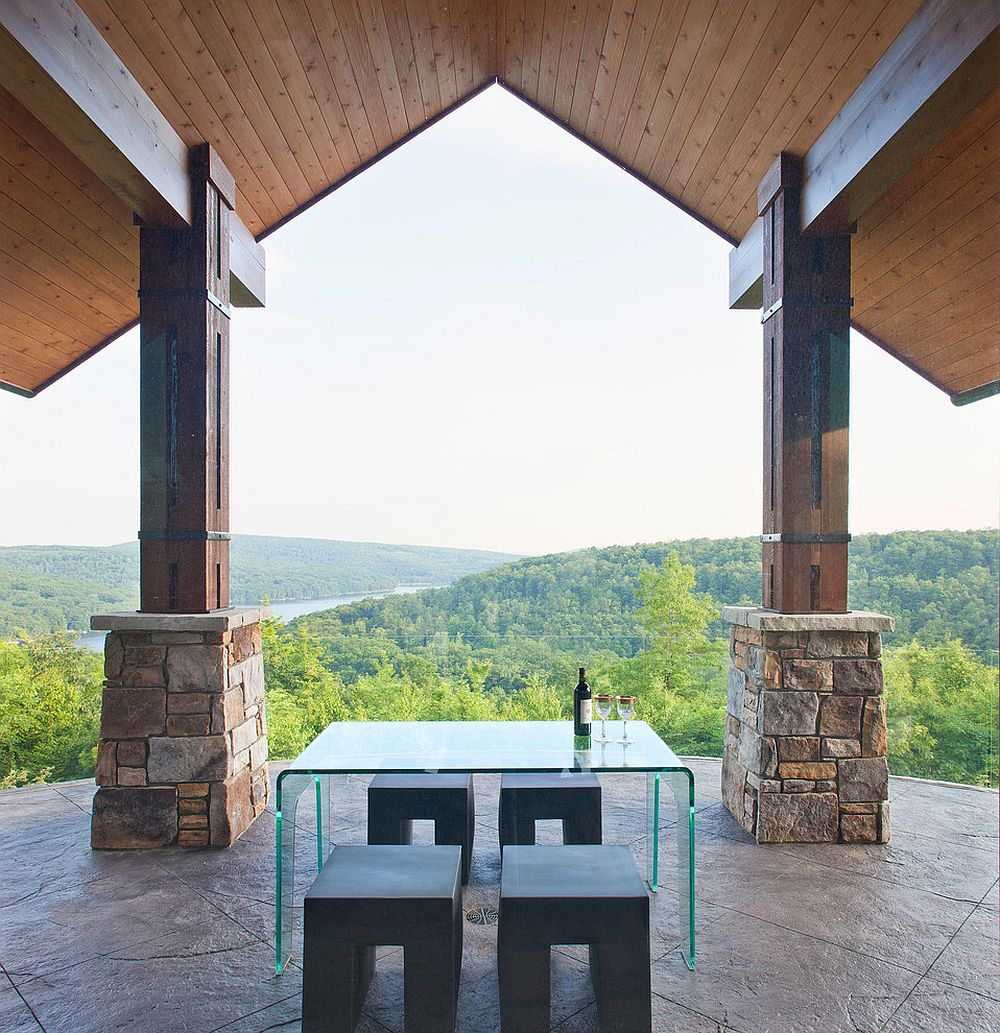 Minimal al fresco dining with forest view [Design: Charles Cunniffe Architects / Photography: James Ray Spahn]