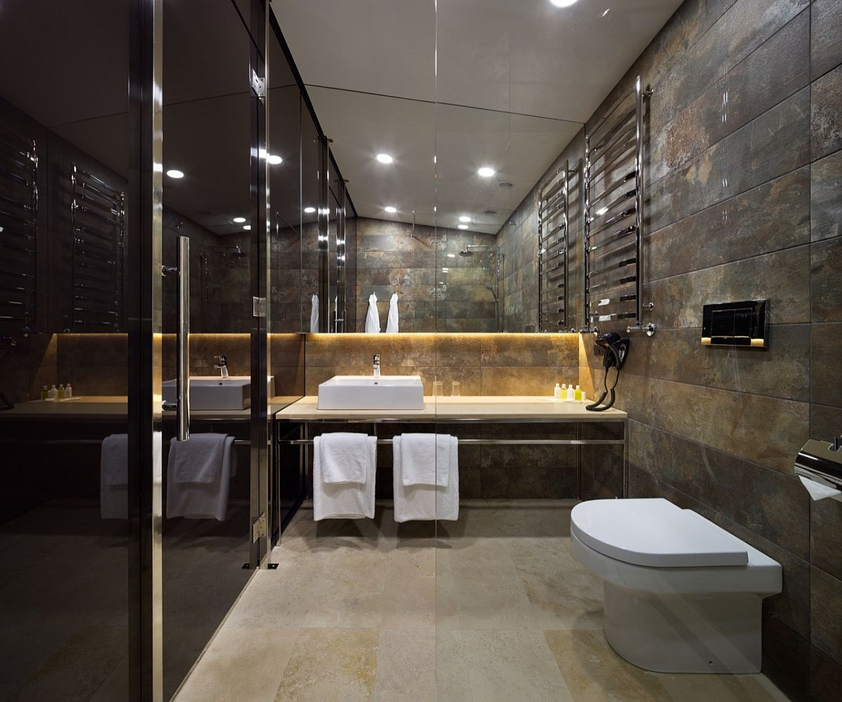 Modern bathroom in stone with a gorgeous shower area